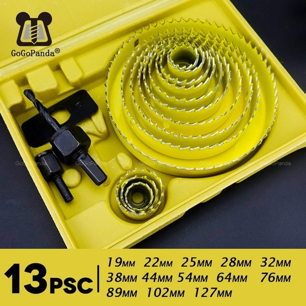 Free Shipping 13Pcs/lot DIY Wook Hole Saw Drill Bit Set for PVC / Wood / Gypsum Board 19mm~127mm Depth:20mm