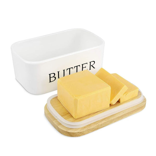 Nordic Style Butter Box Sealing With Wood Lid Knife FoodDish Ceramic Keeper Tool Cheese Storage Tray Plate Container For Kitchen