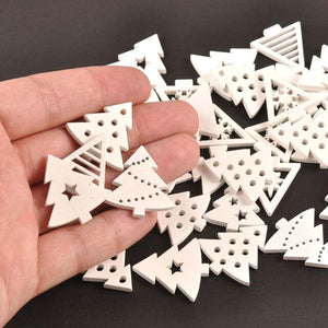 20mm Mix Wooden White Snowflakes Christmas Ornaments Xmas Pendants Diy Scrapbooking Craft New Year Home Decorations