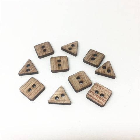 200pcs 6mm Mini Fancy Rustic Brown Wood Square/Triangle Buttons DIY Handmade Sewing 2 Holes Flatback Accessories