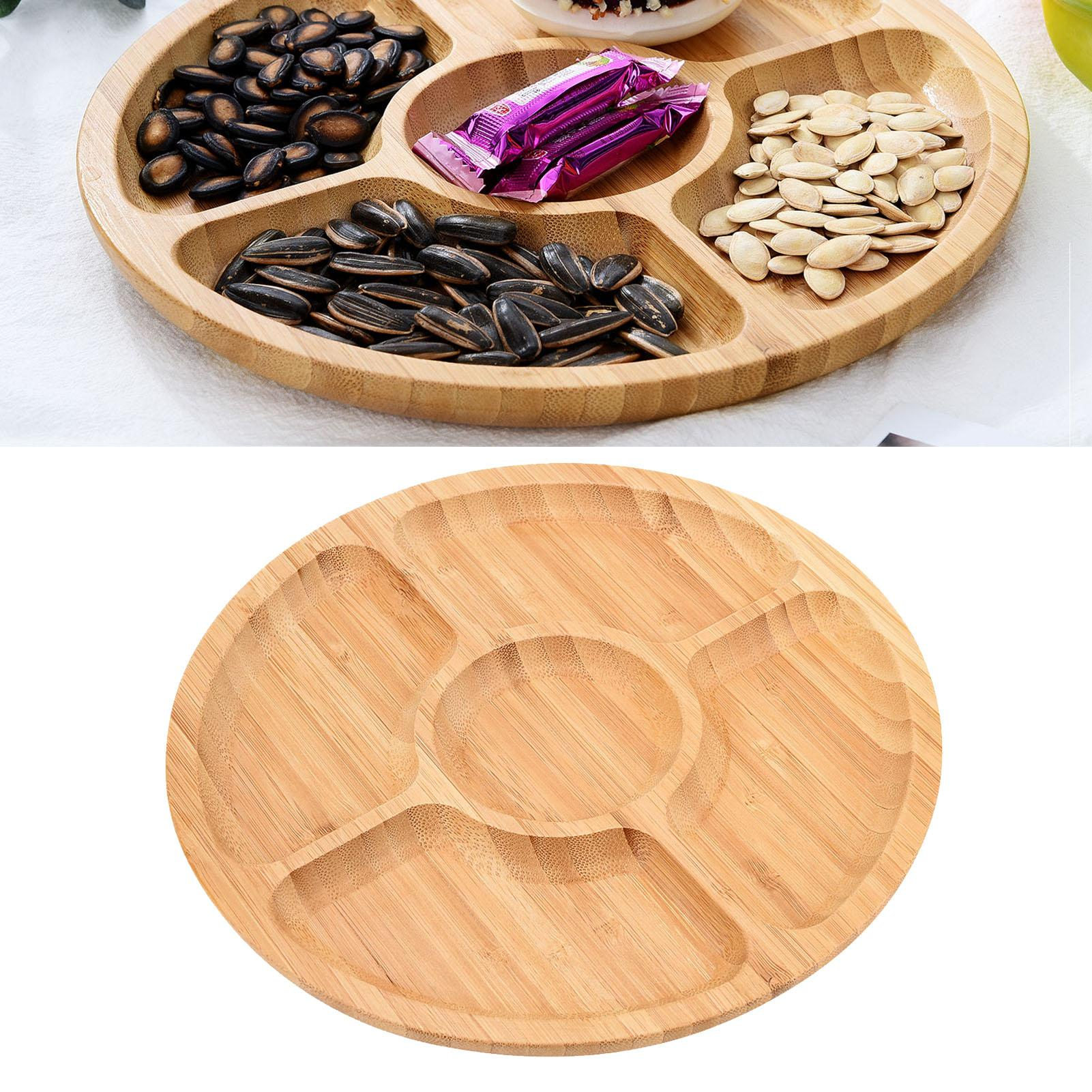5 Grids Wood Round Shape Fruit Snack Bread Nuts Refreshment Holder Storage Plate