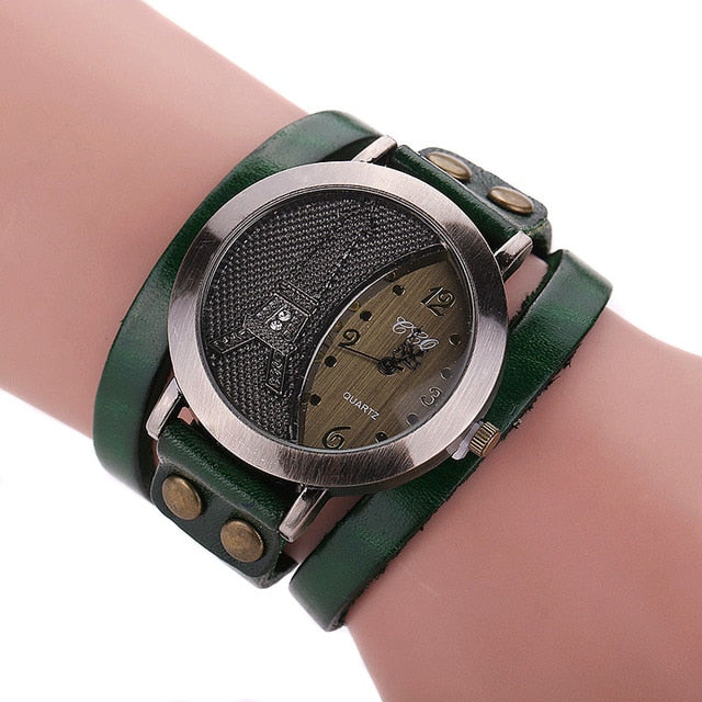 Men Women Watches Vintage Tower Cow Leather Wrapped Couple Lovers' Wristwatch Dress Casual Analog Quartz Watch TT@88