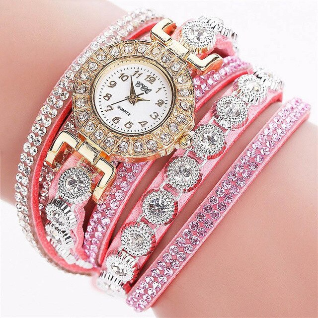 WJ-6695 New Fashion Ladies Watches 3 Circles Wrap Bracelet Wrist Watch Women Fancy Hand Watch for Girls Reloj femenino