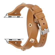 Load image into Gallery viewer, Double Tour Wraps Strap for Apple Watch Studded with Rivet Watch Bands 38mm 42mm Women for iWatch Series 5/4/3/2/1 40mm 44mm