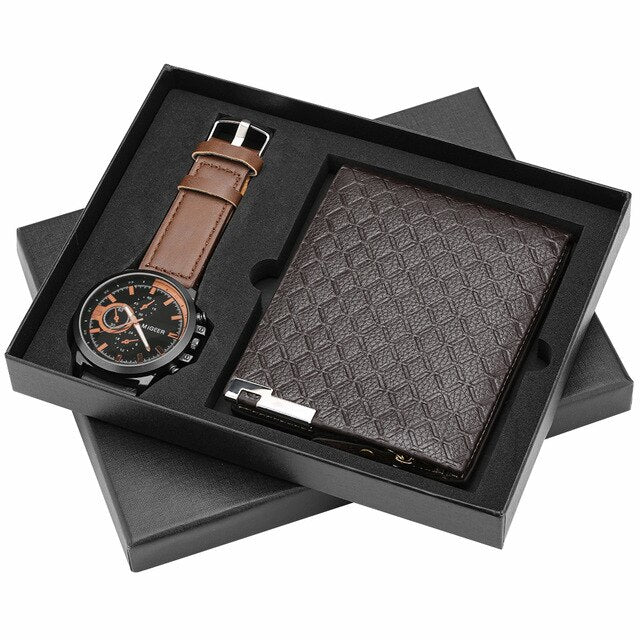 Watch Wallet Set for Men Leather Strap Quartz Watches Zipper Leather Wallet Credit Card Holder for Boyfriend Husband