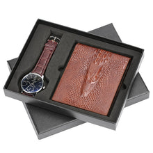 Load image into Gallery viewer, Men Watch Brown Leather Wallet Gift Set For Male Business Men's Quartz Wristwatch Nice Present for Father Boyfriend