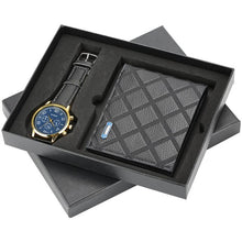 Load image into Gallery viewer, Men's Watches and Wallet Set Leather Strap Quartz Wristwatch Leather Wallet Credit Card Holder for Boyfriend Husband
