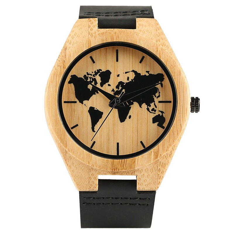 Handcraft  Men Wood Watch Bamboo Carving  World Map Design Quartz Analog Leather Band  Fashion Father's Day Gift bayan kol saati