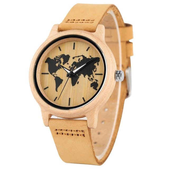 REDFIRE Printing World Map Round Dial Women Maple Wood Watch Quartz Movement Brown Genuine Leather Watch Band Stylish Lady Clock