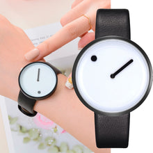 Load image into Gallery viewer, Minimalist Style Leather Wristwatches Women Men Creative Black White Design Dot & Line Simple Face Quartz Watches  Clock