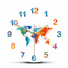 Load image into Gallery viewer, World Map Watercolor Decorative Silent Wall Clock Flat Earth Minimalist Print Digital Art Hanging Wall Watch Gift for Traveler