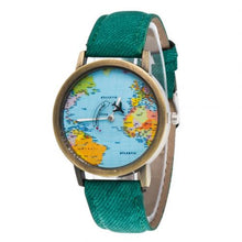 Load image into Gallery viewer, Retro Unisex World Map Faux Leather Strap Round Dial Ladies Quartz Watch Analog Leather Women Gift Women Watches часы женские