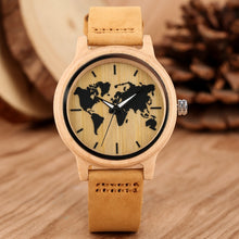 Load image into Gallery viewer, Carving World Map Wooden Watch Men Fashion Bamboo Wood Watches Handmade Wristwatch Genuine Leather Band Quartz Bangle