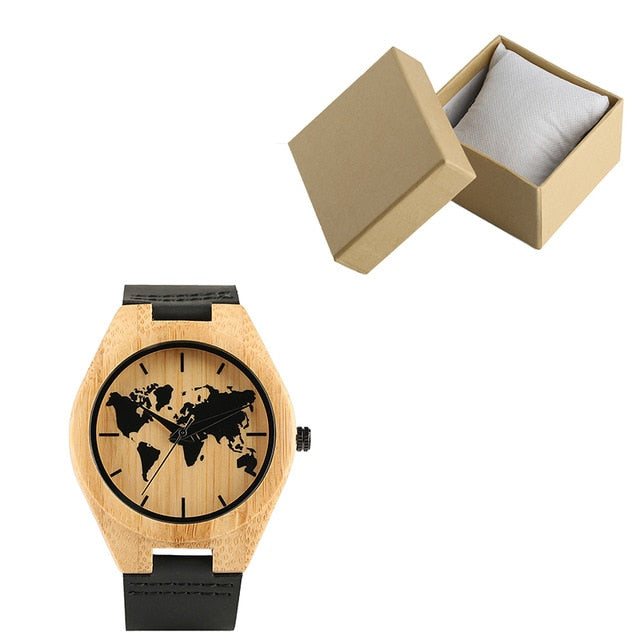Carving World Map Wooden Watch Men Fashion Bamboo Wood Watches Handmade Wristwatch Genuine Leather Band Quartz Bangle
