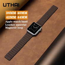 Load image into Gallery viewer, UTHAI B09 Leather loop strap watchband For iWatch 3/2/1 38mm 42mm Magnetic loop For Apple Watch band 40mm 44mm For iWatch 4/5