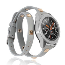 Load image into Gallery viewer, Toyouths Leather Double Wrap Band for Samsung Galaxy Watch 42mm/Active 40mm Fashion Watch Strap with Rivet for Active2 40mm 44mm