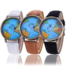 Load image into Gallery viewer, Women's World Map Dial Denim Fabric Strap Analog Quartz Students Wrist Watch Bracelet hot