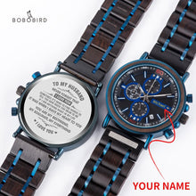 Load image into Gallery viewer, BOBOBIRD Customized Wooden Watch Engrave Your Personalized Logo On The Back Dial With Wood Box Boyfriend Gifts relogio masculino