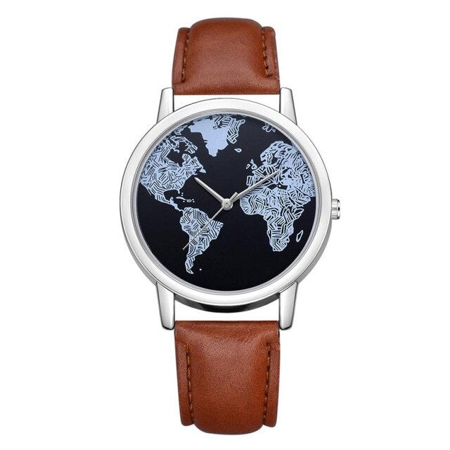 2020 Ladies Watches Fashion World Map Watch Women Wristwatches Blue Leather Strap Quartz Watch Relogio Feminino Reloj Mujer