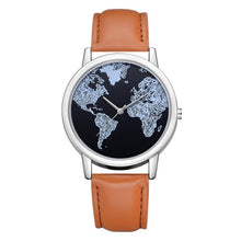 Load image into Gallery viewer, 2020 Ladies Watches Fashion World Map Watch Women Wristwatches Blue Leather Strap Quartz Watch Relogio Feminino Reloj Mujer