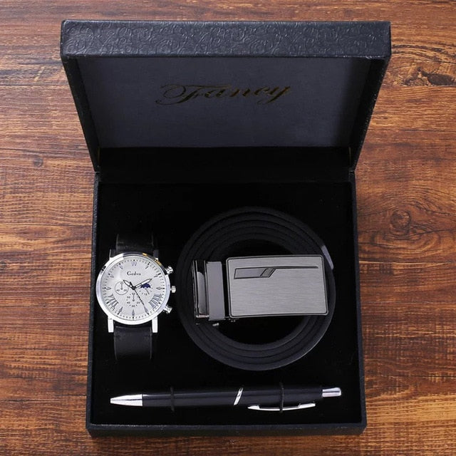 Men's Luxury Gift Sets for Fashion Men Quartz Watches High Quality  Belt Signing Pen Gifts Set for Boyfriend Husband Father's