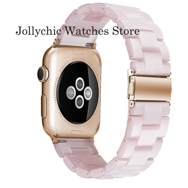 Resin Watch strap for apple watch 6 5 4 band 42mm 38mm correa transparent steel for iwatch 6 series 5 4 3/2 watchband 44mm 40mm