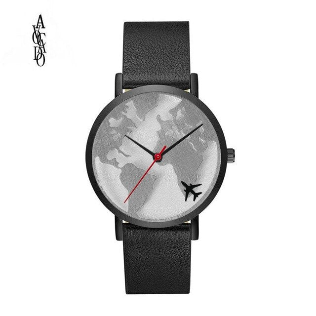 Men And Women World Map Watches Leather Band Quartz Movement Timer Airplane Pattern Clock