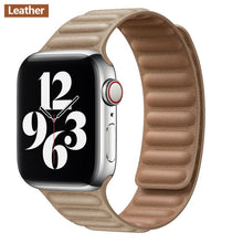 Load image into Gallery viewer, Leather Link strap For Apple watch band 44mm 40mm 38mm 42mm watchabnd 1:1 original Magnetic Loop bracelet iWatch seires 5 4 6 SE