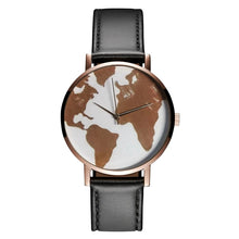 Load image into Gallery viewer, 2021 New Rose World Map Women's Watch Travel Around Minimalist Quartz Wristwatches Casual Black Leather Strap