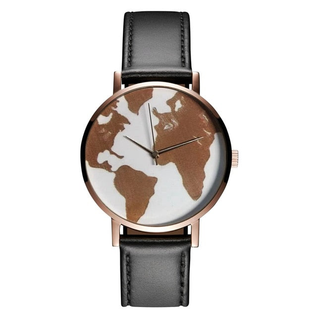 2021 New Rose World Map Women's Watch Travel Around Minimalist Quartz Wristwatches Casual Black Leather Strap