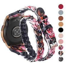 Load image into Gallery viewer, Leather Weave Double Wrap Band for Samsung Galaxy Watch 3 Bracelet Clasp Strap 20mm Women Watch Bands for Galaxy Watch Active 2