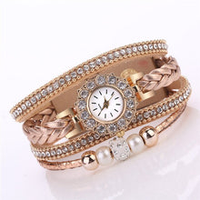 Load image into Gallery viewer, Luxury Women Watches Fashion Ladies Quartz Wrist Watch Vintage Weave Wrap Rhinestone Leather Watch Bracelet For Ladies Gift #D