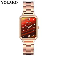 Load image into Gallery viewer, Women Watches Luxury 2020 Square Shape Red Gold Stainless Steel Casual Quartz Bracelet Ladies Wrist Watch Female Reloj Mujer New