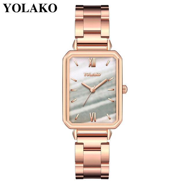 Women Watches Luxury 2020 Square Shape Red Gold Stainless Steel Casual Quartz Bracelet Ladies Wrist Watch Female Reloj Mujer New