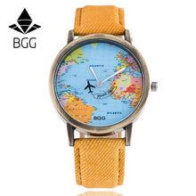 Load image into Gallery viewer, Bronz Dial BGG Brand Watches Fabric Luxury Word Map The Plane Second Pointer Faux Jeans Strap Fashion Men Women Quartz Watch Hot
