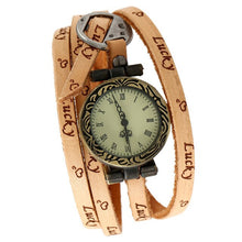 Load image into Gallery viewer, Gnova Platinum Leather Strap Women Watch Lucky Friend Carved Student Wrap Bracelet quartz wristwatch Retro Vintage A532