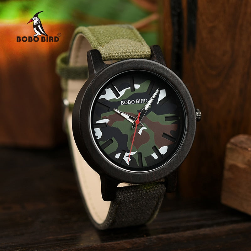 BOBO BIRD Army Green Watch Men Wood Luxury Top Brand Quartz Watches Great Gift for Boyfriend relogio masculino in Wooden Box