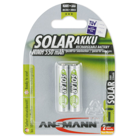 Solar NiMH rechargeable battery Micro AAA 550mAh 2 pcs.