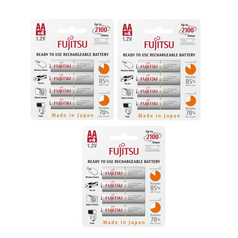 12 Fujitsu Ready-to-use HR3UTC AA Rechargeable Battery NiMH 1.2V Min. 1900mAh Made in Japan