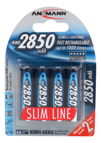 Ansmann AA 2850 mah High Capacity Slimline Rechargeable Battery 4-pk
