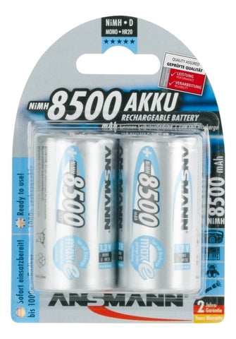 "Max E ""D"" 8500 mah Low Discharge Rechargeable Batteries 2pk."