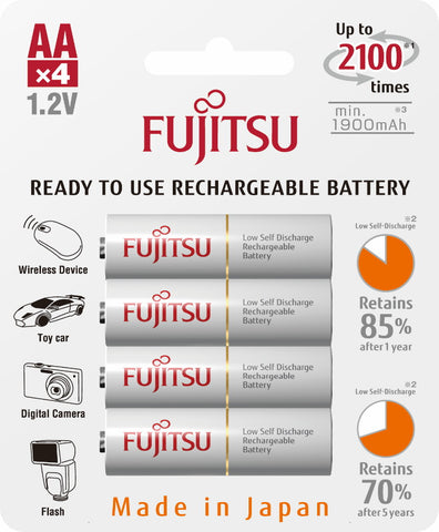 4 FUJITSU READY-TO-USE HR3UTC AA RECHARGEABLE BATTERY NIMH 1.2V MIN. 1900MAH MADE IN JAPAN