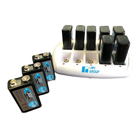LMS 10-Bay 9V Smart Battery Charger Bundle with 10 Ansmann 300 mah 9V Batteries