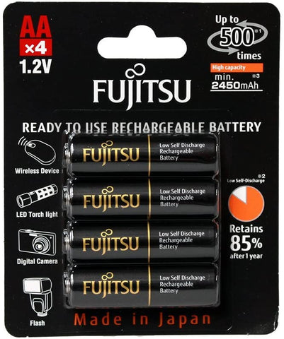 Fujitsu HR-3UTHCEX(4B) 4-Pack AA High Capacity Pre-Charged Rechargeable Batteries (Made in Japan)
