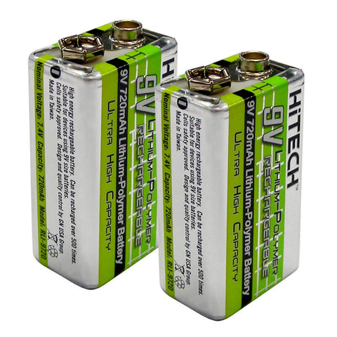 HiTech 9V 720 mah Lithium Polymer Rechargeable Battery 2-pack