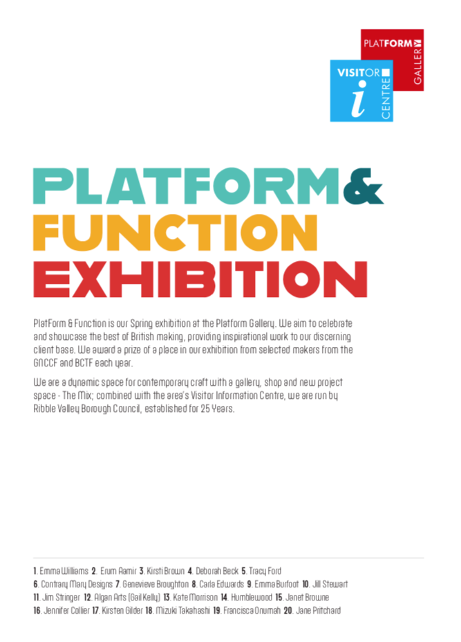 Platform and Function Exhibition at Platform Gallery Clitheroe