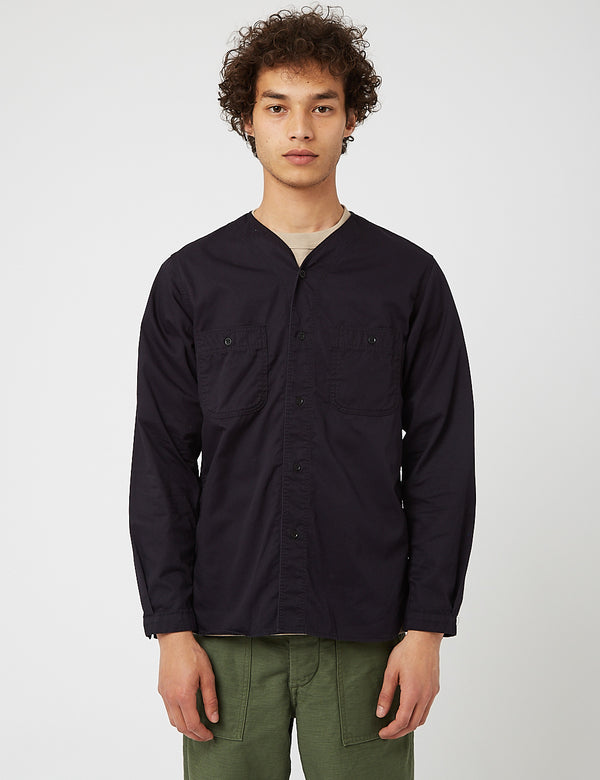 orSlow No Collar Shirt - Marineblau