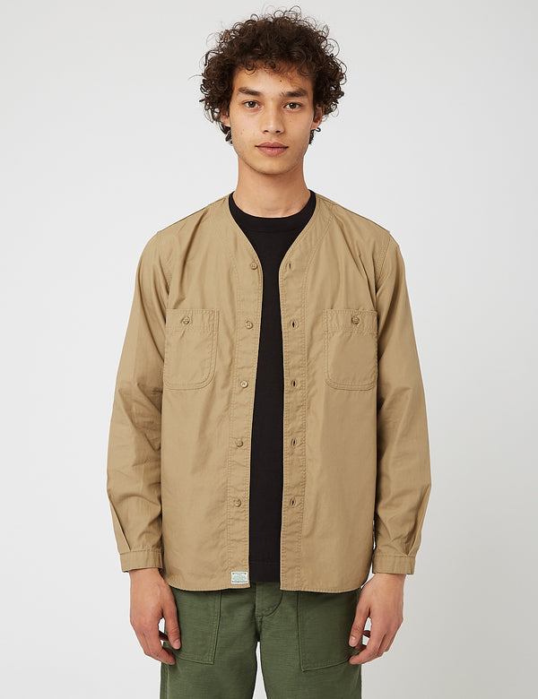 orSlow No Collar Shirt - Khaki