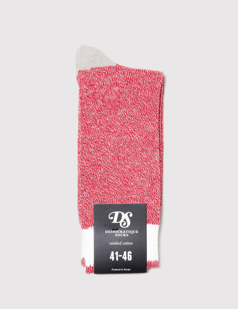 Democratique Relax Melange Contrast Socks - Spring Red/Sand - Article