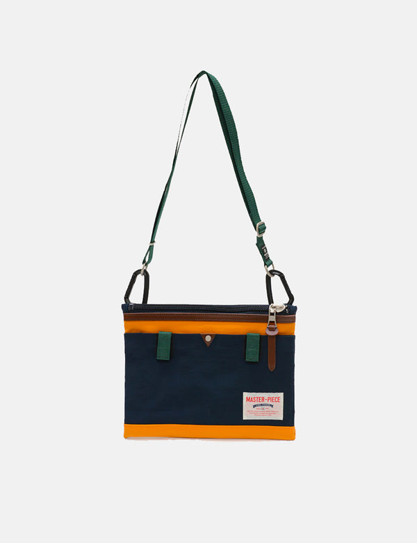 Master-Piece Link Sacoche Side Bag (02343) - Navy Blue/Orange